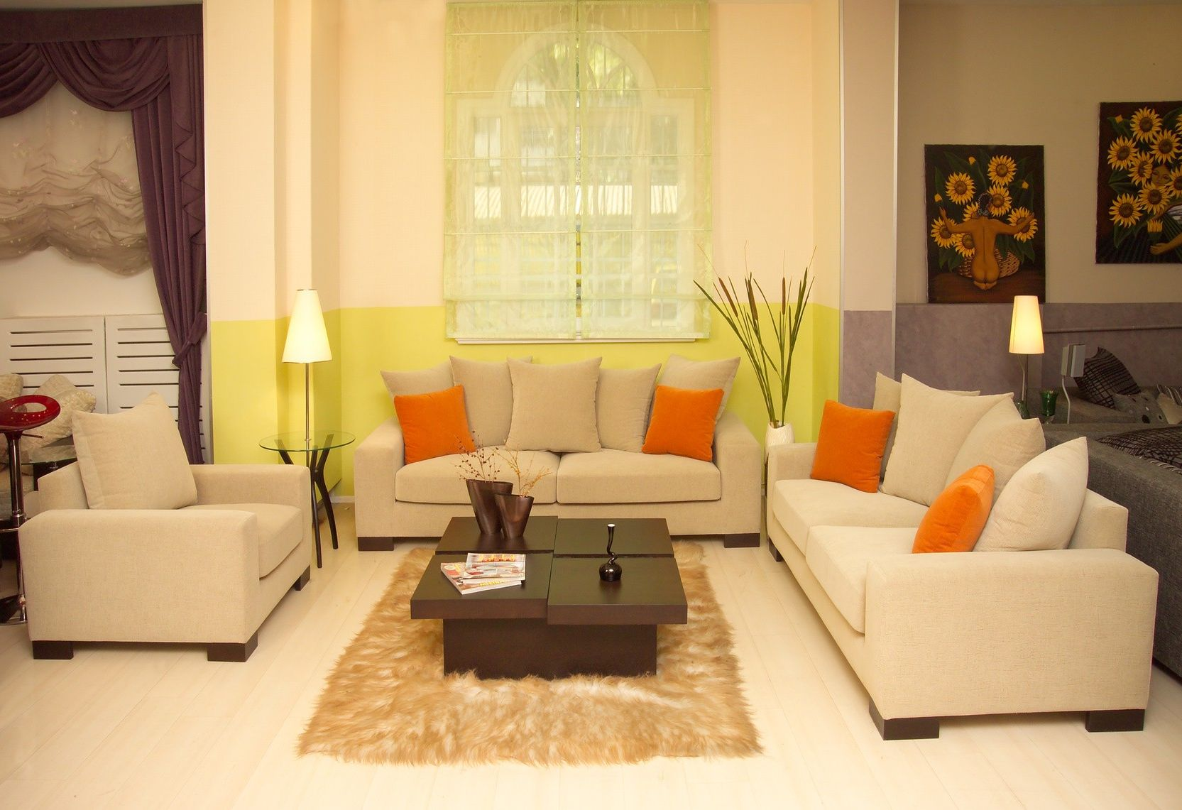 Alluring-Window-for-Feng-Shui-Living-Room-with-Cream-Sofas-and-Stylish-Table-on-Brown-Carpet